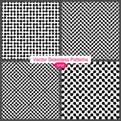 Set of Four Vector Seamless Monochrome Patterns. Modern Stylish Texture Without Gradient. Simple to Edit.