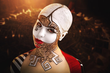 Beautiful woman with conceptual art makeup, big white picture on face, red lips, black lines of maze puzzle, close up new portrait. Photo with big dark space, area, place for text inscription, buttons