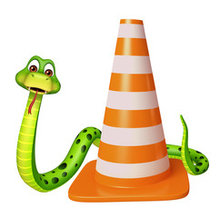 cuteSnake cartoon character with construction cone