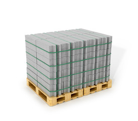 Aerated concrete blocks stacked on wooden pallets. Building mate