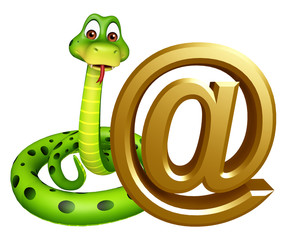 cute Snake cartoon character with at the rate sign