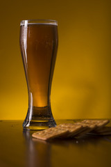 Beer glass on a wooden table