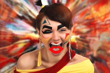 Woman with creative make up, face art design in the form of yellow, red, blue, black geometric shapes. An explosion of colorful paints, powders on the background. New idea, space for text information