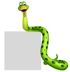 fun Snake cartoon character with board