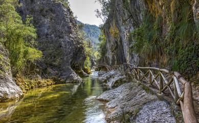 River Borosa Walking Trail in the Sierra Cazorla Mountain Range In HDR, Jaen Province, Andalusia, Spain