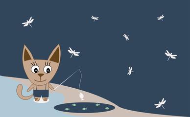 Illustration of a cat fishing - Vector