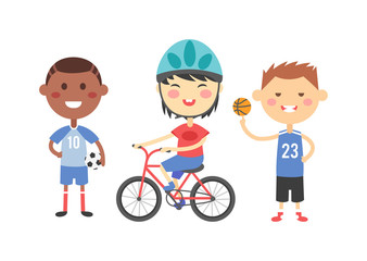 Sport kids vector illustration.