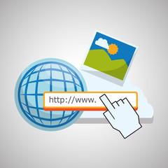 Internet design. Online icon. Colorful illustration