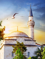 Dome and spire of mosque at sunset