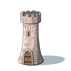 Castle tower. Medieval ancient fortress with a wood gate isolated on white background. Tower in cartoon style.