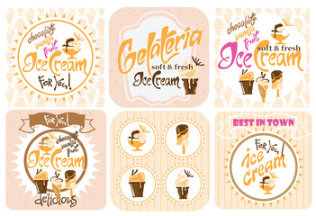 Ice Cream design elements. Vector illustration made in vintage style.