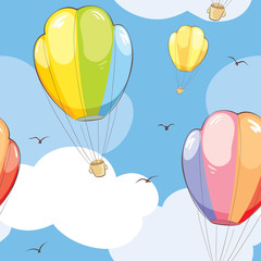 Pattern -- Bright travel/Seamless vector pattern with Hot Air Balloons