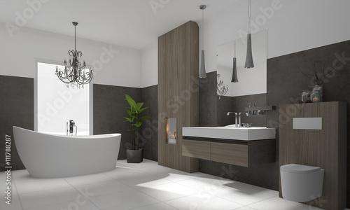luxuri ses modernes badezimmer mit freistehender badewanne photo libre de droits sur la banque. Black Bedroom Furniture Sets. Home Design Ideas