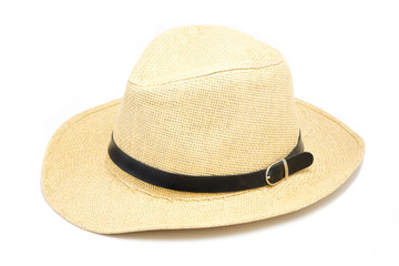 A Cheap summer hat made of straw on white background