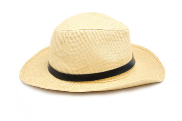 Summer hat made of straw on white background