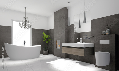 luxuri ses modernes badezimmer mit freistehender badewanne. Black Bedroom Furniture Sets. Home Design Ideas