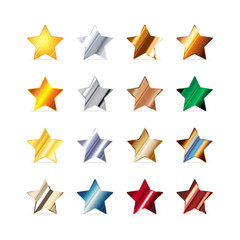 Many stars made of different metals on white
