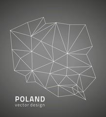 Poland black vector outline map