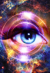 Woman Eye and cosmic space with stars and circle light.  Flah in space, abstract color background, eye contact.