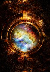 Ancient Mayan Calendar and  Music note, Cosmic space with stars, abstract color Background, computer collage. circular view on space.