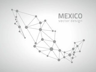 Mexico vector contour grey map