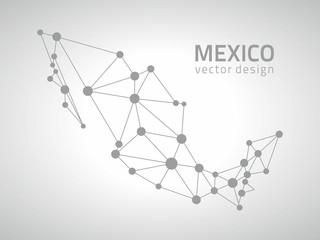 Mexico vector contour grey map