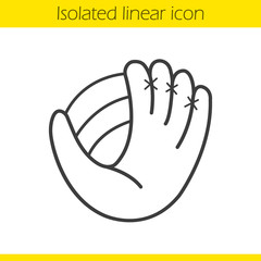 Baseball glove with ball linear icon