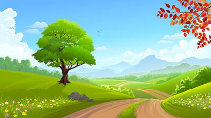A beautiful green tree along a road across lush grasslands