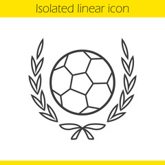 Soccer ball in laurel wreath linear icon