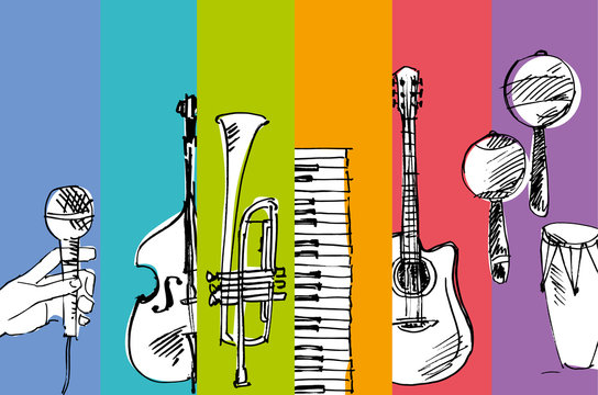 hand drawn vector simple sketch of music illustration