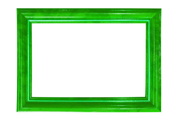 green wood frame isolated on white