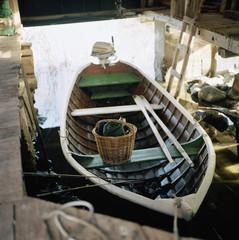 A rowboat in a boathouse in Roslagen, Sweden.