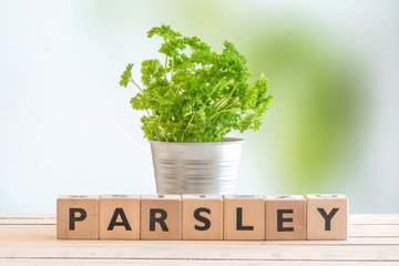 Parsley sign on a table