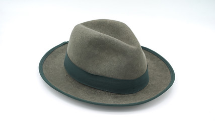 Vintage green hat isolated white background.