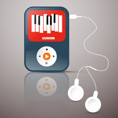 MP3 Player. Abstact Vector Music Player with Headphones. Music Player Illustration with Abstract Keyboard Symbol on Screen.