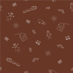 Seamless sample with a children's drawings on a brown background. Vector illustration. It can be used as a background for the websites, packing, fabrics