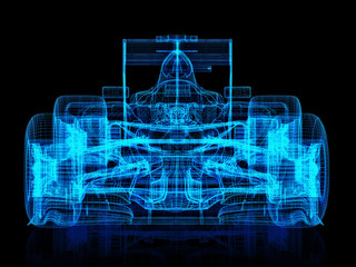 3d wire frame front view of a race car on a black background. 3d rendering
