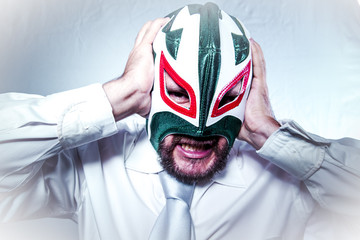 angry businessman with Mexican wrestler mask, expressions of ang