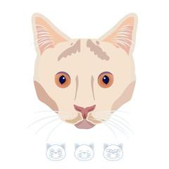 Cartoon white cat portrait with spot. Vector Illustration.