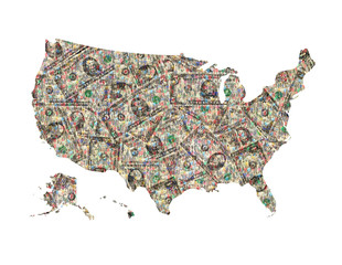 map of USA from dollars isolated