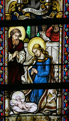 Wall Mural - Stained Glass - Nativity Scene