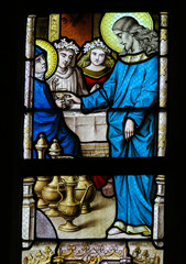 Fototapete - Stained Glass - Marriage at Cana