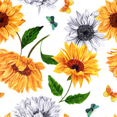 Seamless background pattern with watercolor and pencil sunflower