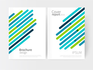 Vector set abstract geometric background/ green and blue Diagonal lines. Modern White business brochure cover template EPS 10