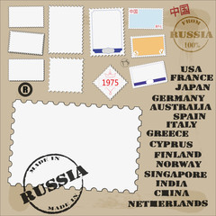 set of postage stamps and postmarks