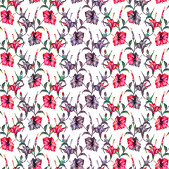 Seamless floral pattern with gingham checks. Exotic hibiscus flowers allover layout with blended effect chevron motif. Red and purple tones on white background.