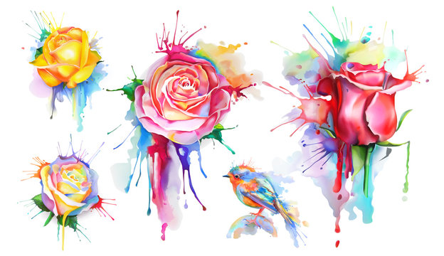 Watercolor roses, set of vector icons