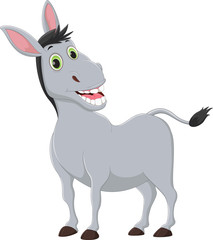 cartoon donkey smiling and happy