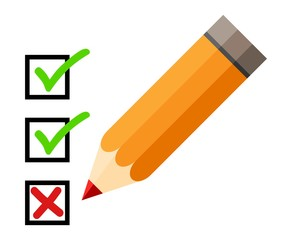 Checklist and pencil. Checking off tasks. White background