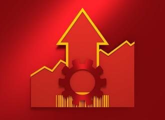 Gear icon on grow up arrow and bar code